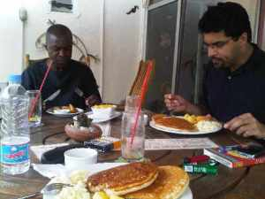Jay and Tariq enjoying breakfast in Abuja, April 2010